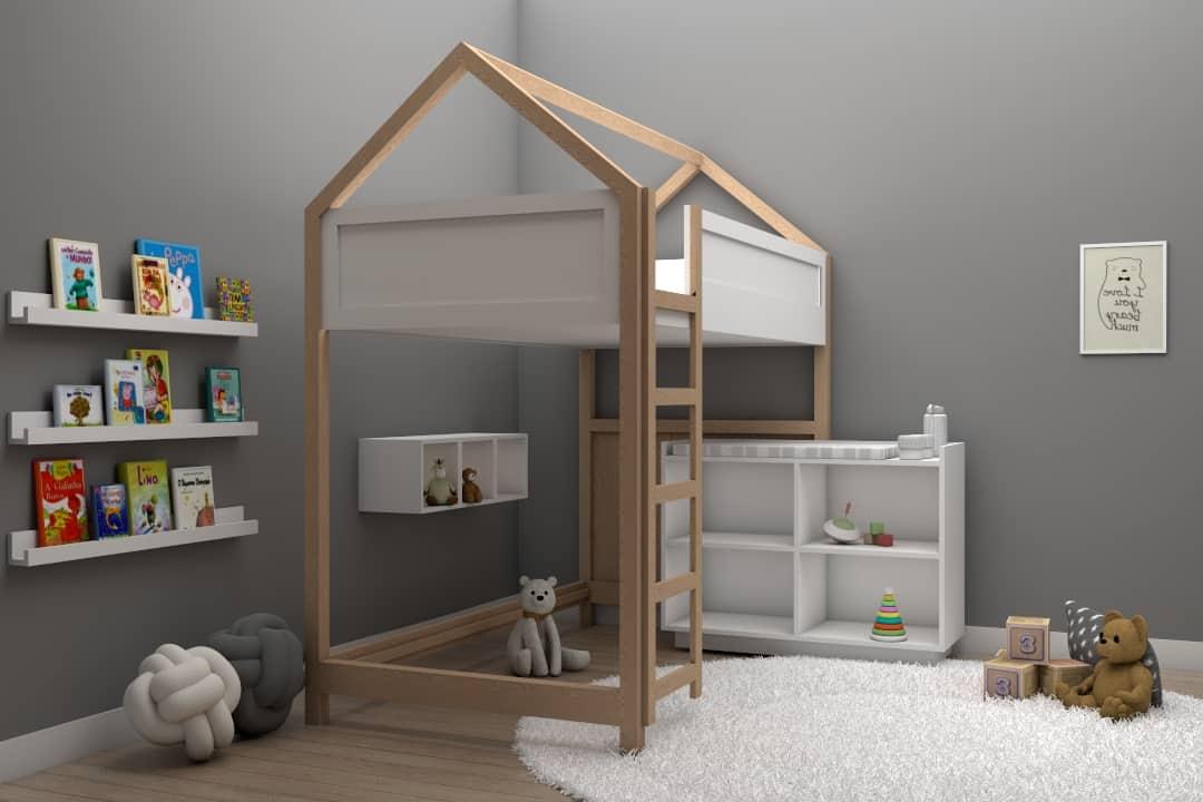 Cama casita litera play bed individual montessori color maple muebles infantiles DECEN